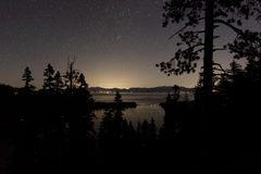 Tahoe Night. Lake Tahoe`s Emerald Bay at night, Nevada is on the far shore Stock Image