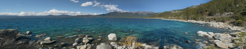 Tahoe Panoramic View. Panoramic view of the beautiful Lake Tahoe Stock Photos
