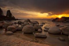 Tahoe solnedgång 3 Royaltyfri Fotografi