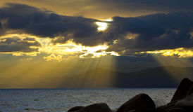 Tahoe Sunset Beams Royalty Free Stock Photography