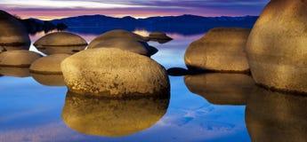 Tahoe zmierzch przy piaska schronieniem Obraz Royalty Free
