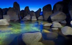 Tahoe zmierzch przy piaska schronieniem Obrazy Royalty Free