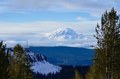 Tahoma: Mt Dżdżysty od Darland góry, Wczesny sezonu kraju narty dzień Obraz Stock