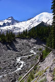 Tahoma from White River, Emmons Moraine Trail, Mt. Rainier National Park, Washington. State, Pacific Northwest. Backpacking, Hiking, Day hiking Trail from White royalty free stock image
