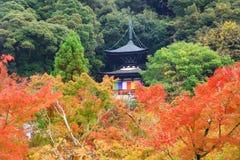 Tahoto Pagoda with autumn leaves in Eikando, Kyoto Royalty Free Stock Image