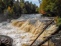 Tahquamenon Falls in the UP of Michigan during the summer stock photos