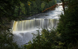 Tahquamenon Falls. The Upper Falls at Tahquamenon State Park is Michigan's largest waterfall. Paradise, Michigan stock image