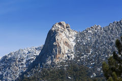Tahquitz Peak from Idyllwild. Tahquitz peak or rock viewed from Idyllwild. Tahquitz Peak is a granite, 8,750-foot-tall rock formation located on the high western royalty free stock photography