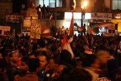 tahrir正方形的人们在埃及革命时 免版税库存照片
