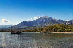 Tahtali mountain and bay Phaselis Turkey Stock Images