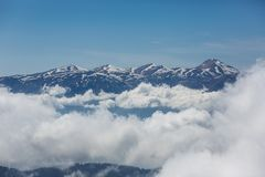 Tahtali mountain. View of the top of Tahtali mountain over white clouds Stock Photos