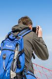People on the Tahtali mountain. TAHTALI, TURKEY - APR 20, 2015: Unidentified tourist makes pictures on the top of the Tahtali mountain. Tahtali mountain is 2365m Royalty Free Stock Photography