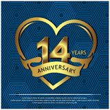14 years anniversary golden. anniversary template design for web, game ,Creative poster, booklet, leaflet, flyer, magazine, invit. Ation card - Vector. EPS file vector illustration