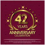 Forty two years anniversary golden. anniversary template design for web, game ,Creative poster, booklet, leaflet, flyer, magazine. Invitation card - Vector royalty free illustration