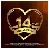 14 years anniversary golden. anniversary template design for web, game ,Creative poster, booklet, leaflet, flyer, magazine, invita. Tion card - Vector. EPS file vector illustration