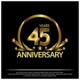 Forty five years anniversary golden. anniversary template design for web, game ,Creative poster, booklet, leaflet, flyer, magazine. Invitation card - Vector vector illustration