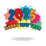 Happy 2025 New Year card with balloon. EPS file available. Please see more images related royalty free illustration