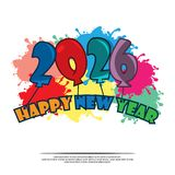 Happy 2026 New Year card with balloon. EPS file available. Please see more images related royalty free illustration