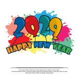 Happy 2029 New Year card with balloon. EPS file available. Please see more images related stock illustration