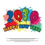 Happy 2030 New Year card with balloon. EPS file available. Please see more images related vector illustration