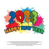 Happy New Year 2028 with balloon. card stock, flat design. EPS file available. Please see more images related royalty free illustration
