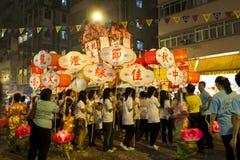 Tai吊火龙舞蹈在香港 免版税库存照片