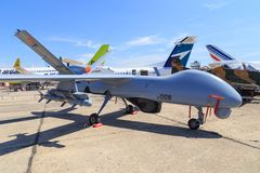 TAI Anka UAV. Turkish Aerospace Industries TAI Anka Unmanned Aerial Vehicle UAV displayed at the 2017 Paris Air Show, le Bourget stock images