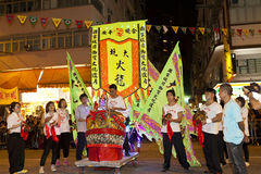 Tai-Bedeutungs-Feuer-Drache-Tanz in Hong Kong Stockfotos
