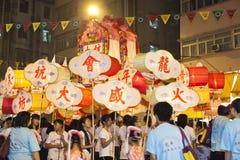 Tai-Bedeutungs-Feuer-Drache-Tanz in Hong Kong Stockfoto