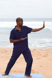Tai chi. Young african american man practice tai chi on beach stock images