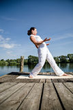Tai chi. Young woman making tai chi exercise at a lake stock images