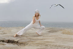 Tai Chi. By the ocean.   movements are low impact exercises based on martial art Royalty Free Stock Photo