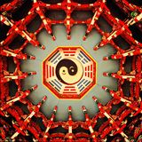 Tai chi ba gua ceiling. TaiChi bagua ceiling in a Taoisim temple, Fujian, China. DouGong is a typical structure in Chinese wooden building. Taoism is a main royalty free stock photo