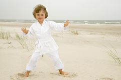 Tai Chi on the beach Stock Image