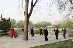 Tai Chi. Beijing China April 27,2013, Some old people plays Tai Chi in the park Stock Image