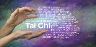 Tai Chi Benefits Word Cloud. Female hands cupped around the words TAI CHI surrounded by a relevant word cloud on a purple and jade green patterned background Royalty Free Stock Image