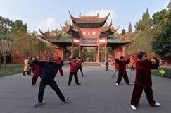 Tai Chi bij Chinese Klassieke Tuin Stock Foto's