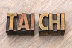 Tai chi - Chinese martial art. Word abstract in letterpress wood type blocks royalty free stock photo