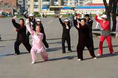 Tai Chi in de ochtend, China Royalty-vrije Stock Foto