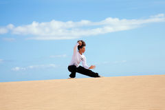 Tai chi in the dunes Royalty Free Stock Photos