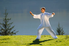 Tai Chi exercise in nature on green field Royalty Free Stock Photography