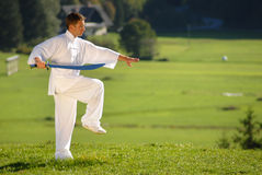 Tai Chi exercise with  sword in nature on green field Royalty Free Stock Photo