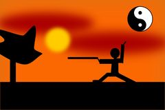 Tai Chi Fighter in the Sunset stock illustration
