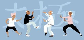 Tai Chi grupp stock illustrationer