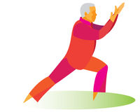 The tai chi instructor shows his high skills. The old man is tai chi instructor shows his high skills Stock Photos