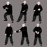 Tai chi man silhouette. Royalty Free Stock Photos