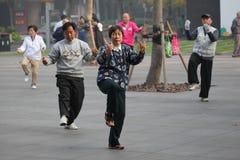 Tai-Chi morgens, China Lizenzfreie Stockfotos
