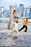 Tai Chi nauczyciel instruuje Tai publicznie Chie Obraz Royalty Free