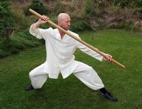 Tai Chi with a pole Stock Photos