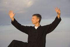Tai chi - posture kick with right heel Stock Photography